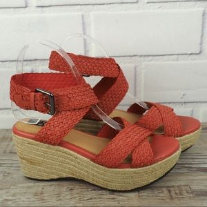 Adam Tucker 7 red leather braided strap espadrille